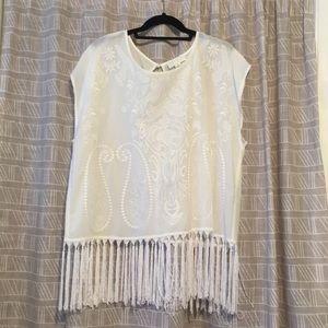 White fringe blouse